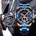Yeni CURREN moda erkekler saatler paslanmaz çelik üst marka lüks spor kronometreli kuvars saat Relogio Masculino