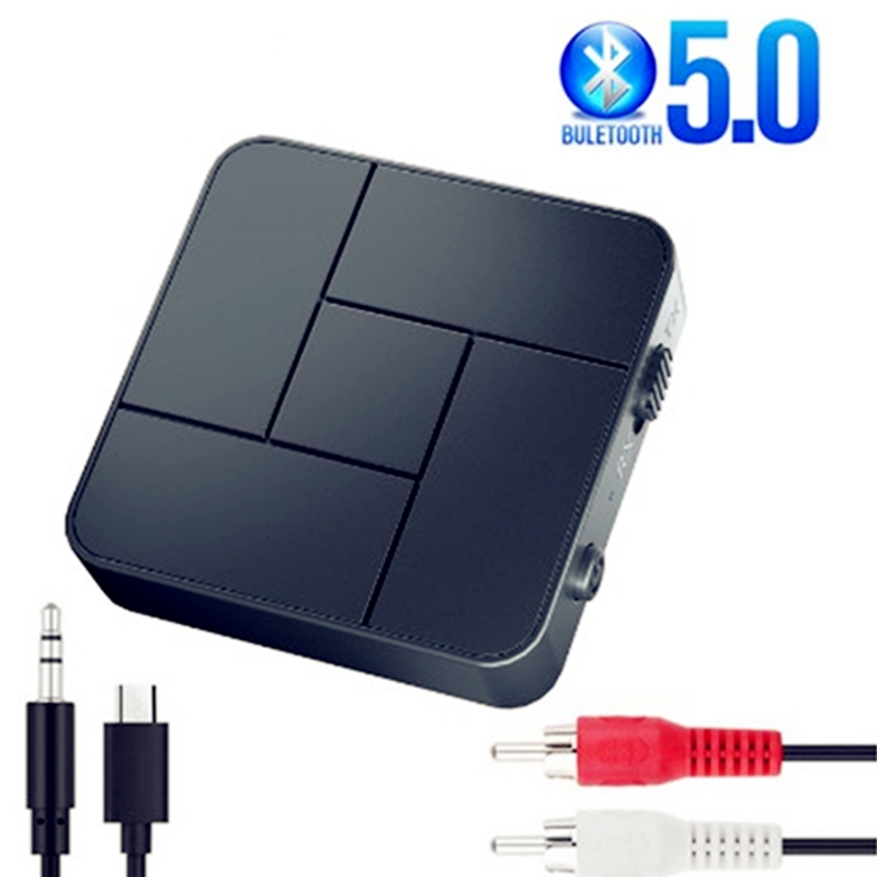 Bluetooth 5.0 Receiver Transmitter 3.5mm AUX Jack RCA USB Dongle Stereo Wireless Adapter with Mic For Car TV PC Headphone