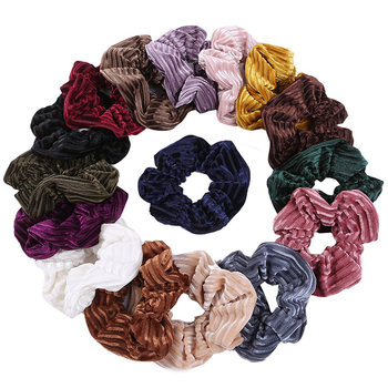 2020 New Korea Hair Rope Elastic Hairband Girls Sweet Striped Soft Velvet Scrunchies Ponytail Solid Hair Ties Scrunchy Hot Sale image