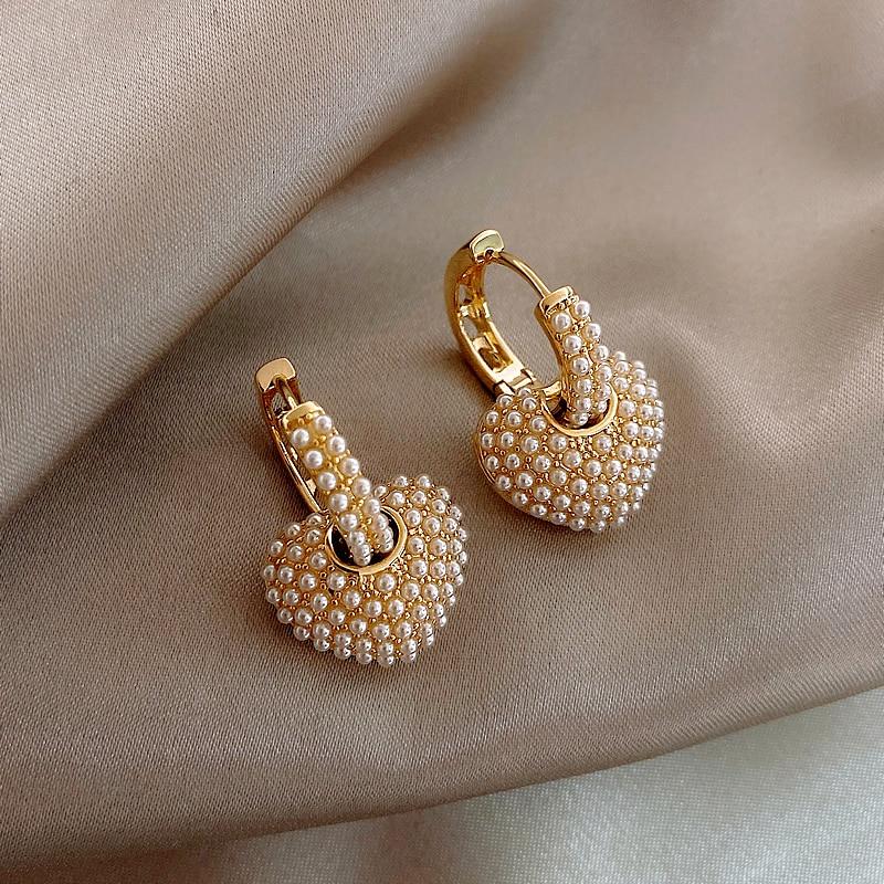 Korea New Design Fashion Jewelry Sweet Love Full Pearl small hoop 14K real gold Earrings Elegant Women Wedding Party Earrings