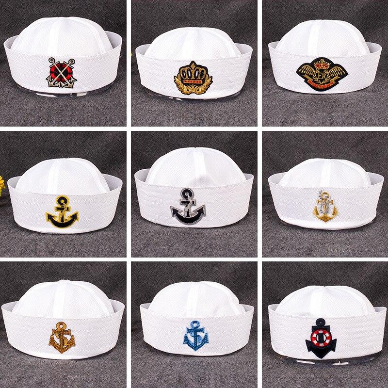 Chapéus militares para adultos marinheiros capitão chapéu branco marinha boné âncora mar barco crianças festa cosplay festival chapéus