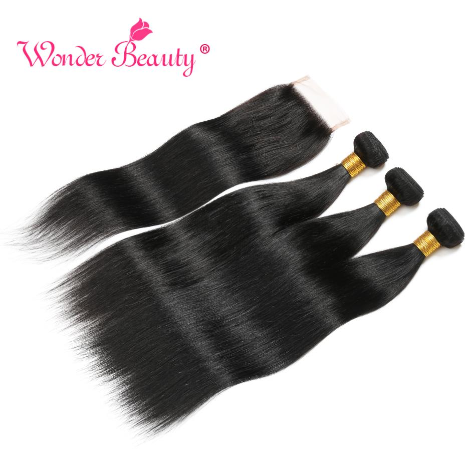 Straight Hair Bundles With Closure Remy Human Hair Bundles With Closure Wonder Beauty Brazilian Hair Weave Bundles 8-30 Inches