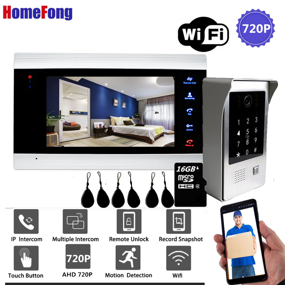 Homefong 7 Inch WiFi Smart Wired Video  Door Phone Intercom Door Entry System Door Bell Motion Record Password RFID Card