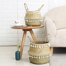 Handmade Bamboo Storage Baskets Seagrass Wicker Basket Garden Flower Pot Laundry Basket Container Toy Holder with White Tassel(China)