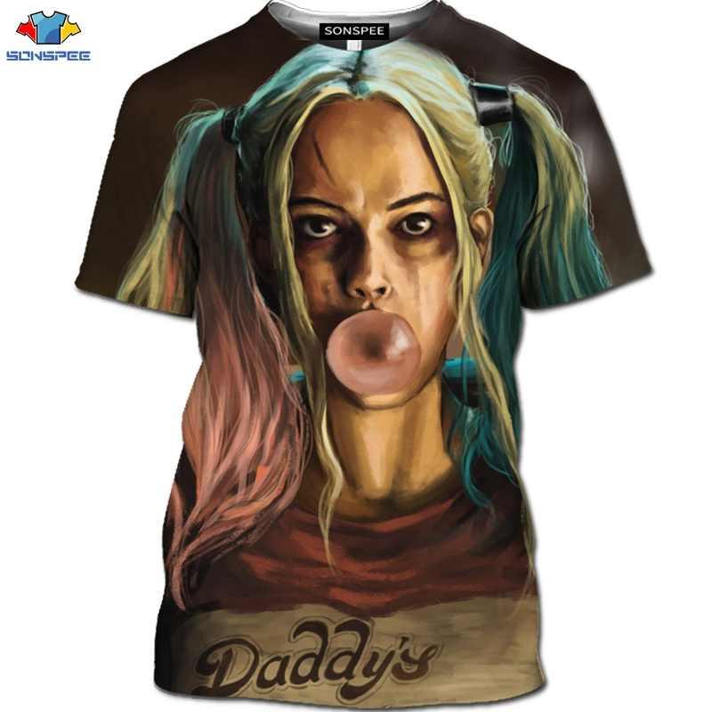 SONSPEE Mới 3D Bông Tai Kẹp Hoạt Hình Harley Quinn Áo Thun Phim Tự Sát Đội Hình Áo Ngộ Nghĩnh Nữ Chú Hề Áo Thun Nam Động Vật Của Áo Sơ Mi hàng Đầu
