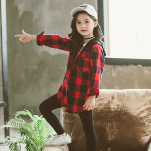 Image 4 - Girls School Blouses Autumn Spring 2020 Children Hoodies Plaid Shirt Long Sleeve Letter Print Tops for Toddler Baby Kids Clothes