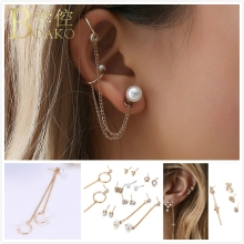 BOAKO Bohemia Long Tassel Earrings For Women Pearl Zircon Moon Stone Earring Set Korean Girl Ear Bone Chain Clip aretes K5
