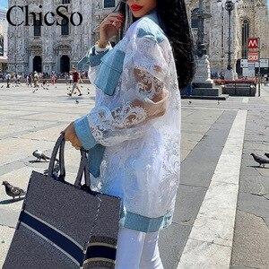 Image 4 - Missychilli Ren Trắng Miếng Dán Cường Lực Áo Sơ Mi Denim Nữ Dạo Phố Phối Lưới Trong Suốt Hoa Jean Áo Mùa Hè Gợi Cảm Câu Lạc Bộ Embroiderytop