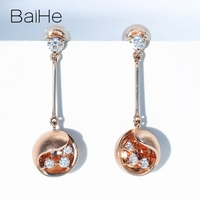 BAIHE Solid 14K Rose Gold 0.38ct H/SI Natural Diamonds Wedding Engagement Trendy Fine Jewelry beautiful Round Stud Earrings