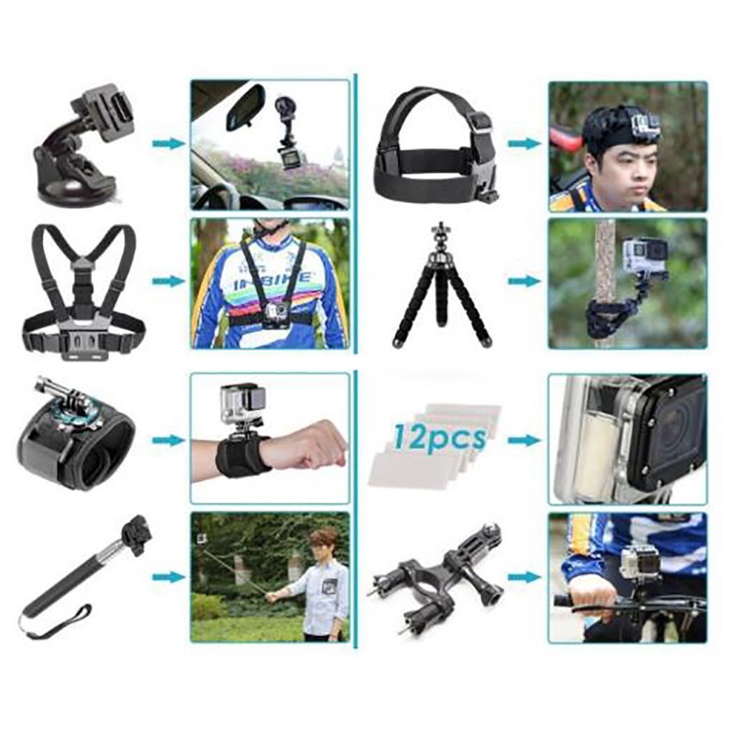 50-en-1 Action caméra accessoires Kit poitrine bande montage extérieur Kit pour GoPro noir