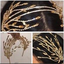 Luxcy Rhineston Handmade Bridal Flower Faux Pearl Crystal Crown Wedding Headband Women Hairband Tiara Children Hair Accessories