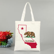 California Republic Vintage California Beer Print Herbruikbare Boodschappentas Tassen Printing Eco Tas Cartoon Shopper Schoudertassen(China)