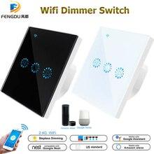 Atenuador de luz inteligente con WiFi, Interruptor táctil para atenuación de luz Compatible con Amazon Alexa, Google Home, regulable, 110V, 220V, estándar US y EU