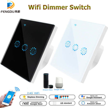 WIFI Dimmer Switch สมาร์ทสัมผัส Dimming ใช้งานร่วมกับ Amazon Alexa Google Home หรี่แสงได้ 110V 220V US EU มาตรฐาน