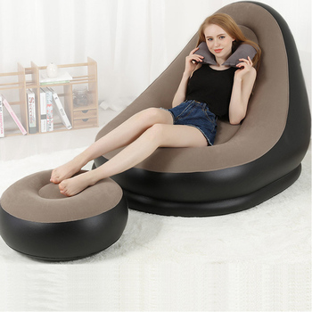 Inflatable Sofa Bed With Stool Lazy Lounger Sofa Bag Balcony Nap Inflatablel Air Sofa Bed Bedroom Outdoor Dorms Air Chair