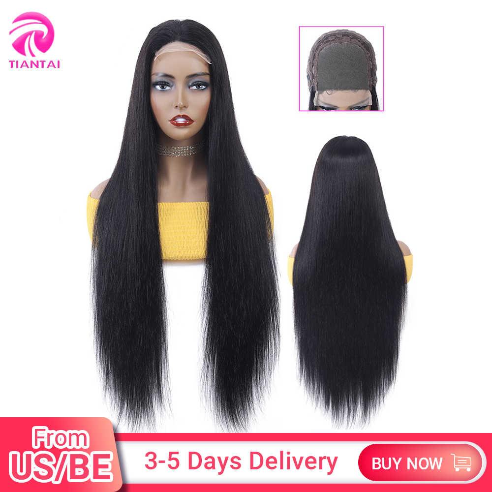 Peluca TIANTAI de 28 pulgadas con cierre 4x4, peluca con cierre de encaje, pelucas de encaje de pelo humano, pelucas largas y rectas para mujer, Remy brasileño de densidad 150