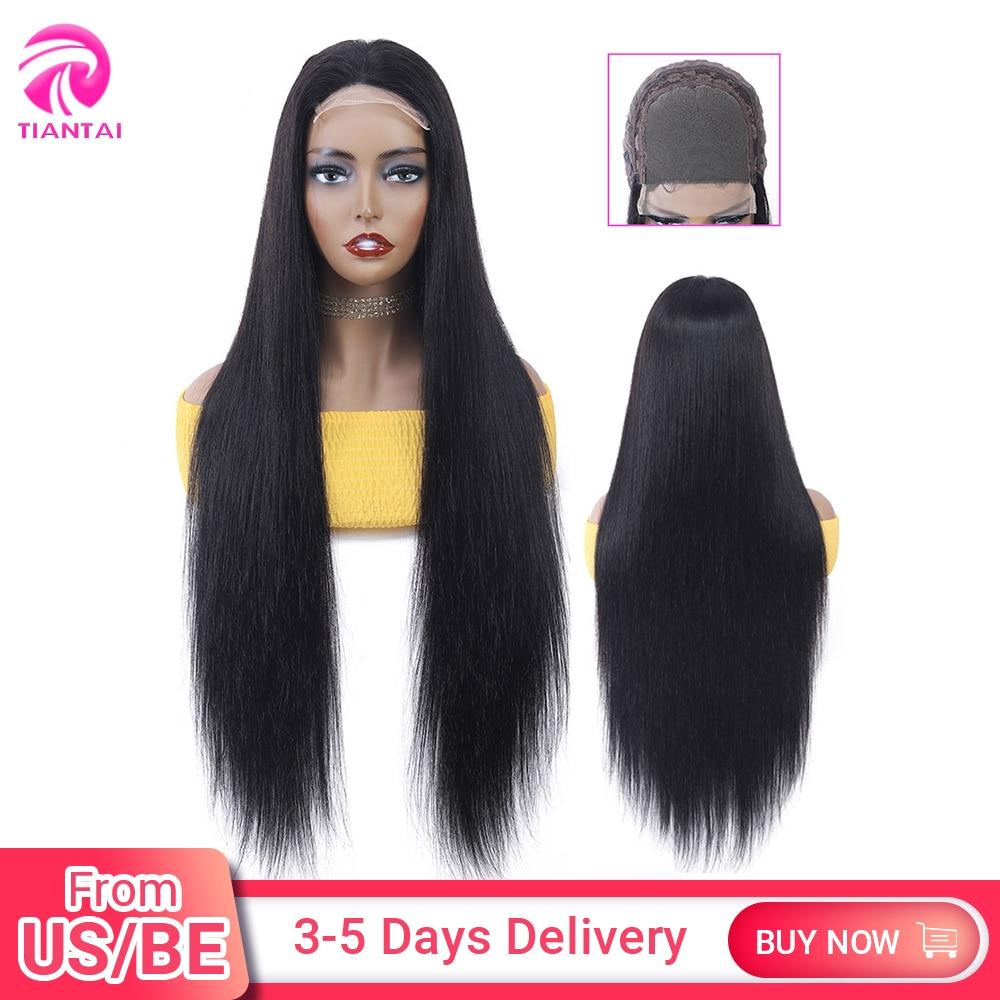 TIANTAI, 28 дюймов, парик с закрытием, 4x4, парик на шнурке, человеческие волосы, парики на шнурках, Длинные прямые парики для женщин, бразильские во...