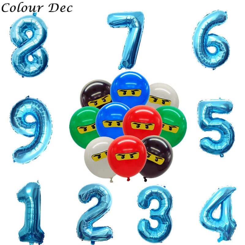 Новый 32 дюймов 123 4th ниндзя тема воздушные шары для мальчиков Дети День рождения Dec12inch латекс ниндзя воздушные шары для вечеринок