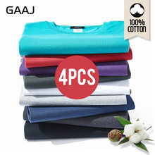 2019 GAAJ T-shirt Mannen 100 Katoen 4 Stuks Stuks Lot Tshirt Basic Blanco T-shirt Mens Tshirt 4 Pack Solid top Streetwear Tee Shirt(China)