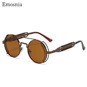 Emosnia hombres mujeres Hip Hop Steampunk gafas de sol 2020 nueva moda personalidad Retro Punk gafas de sol redondas gafas con montura metálica