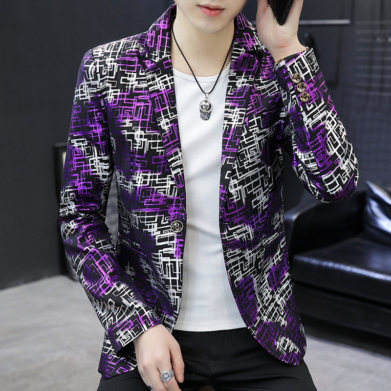 BOBO 2020 Men Printed Plaid Casual Suit Teenager Trend Of Fashion Single Suit