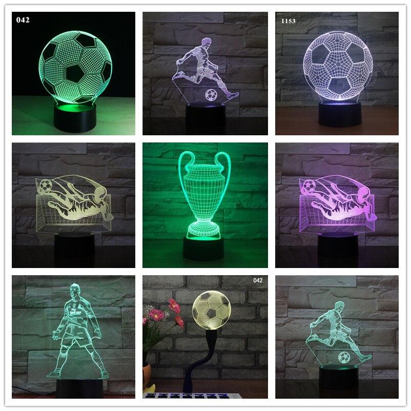 Kids 3D Led Lamp Football Night Light C Ronaldo Home Deocration Luminaria Child Boy Birthday Gift Messi Table Nightlight Soccer