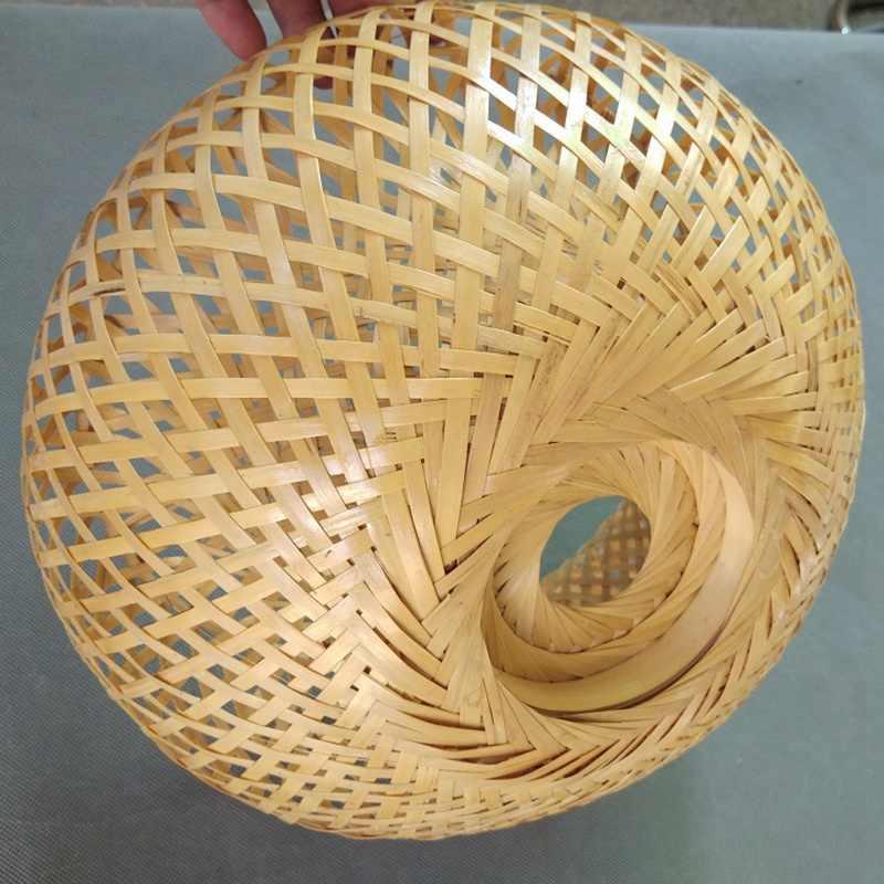 במבוק נצרים קש אהיל יד ארוג שכבה כפולה במבוק כיפת אהיל אסיה כפרי יפני מנורת עיצוב