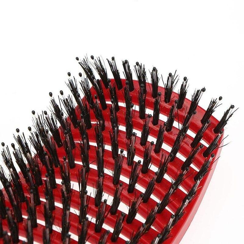 tangling escova de cerdas de nailon detangle escova de cabelo feminino couro cabeludo massagem pente escova