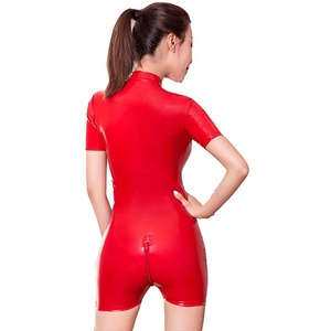 Image 5 - Latex Style Women Shiny Romper Sexy PVC Leather Jumpsuit Zipper Open Crotch Bodysuit Catsuit Mistress Fetish Costume
