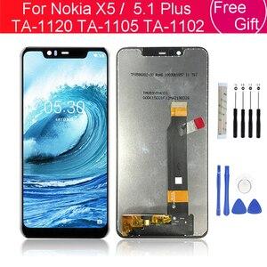 Image 1 - עבור נוקיה X5 LCD תצוגת מסך מגע Digitizer TA 1120 TA 1105 TA 1102 עבור Nokia 5.1 בתוספת LCD מסך החלפת תיקון חלקים