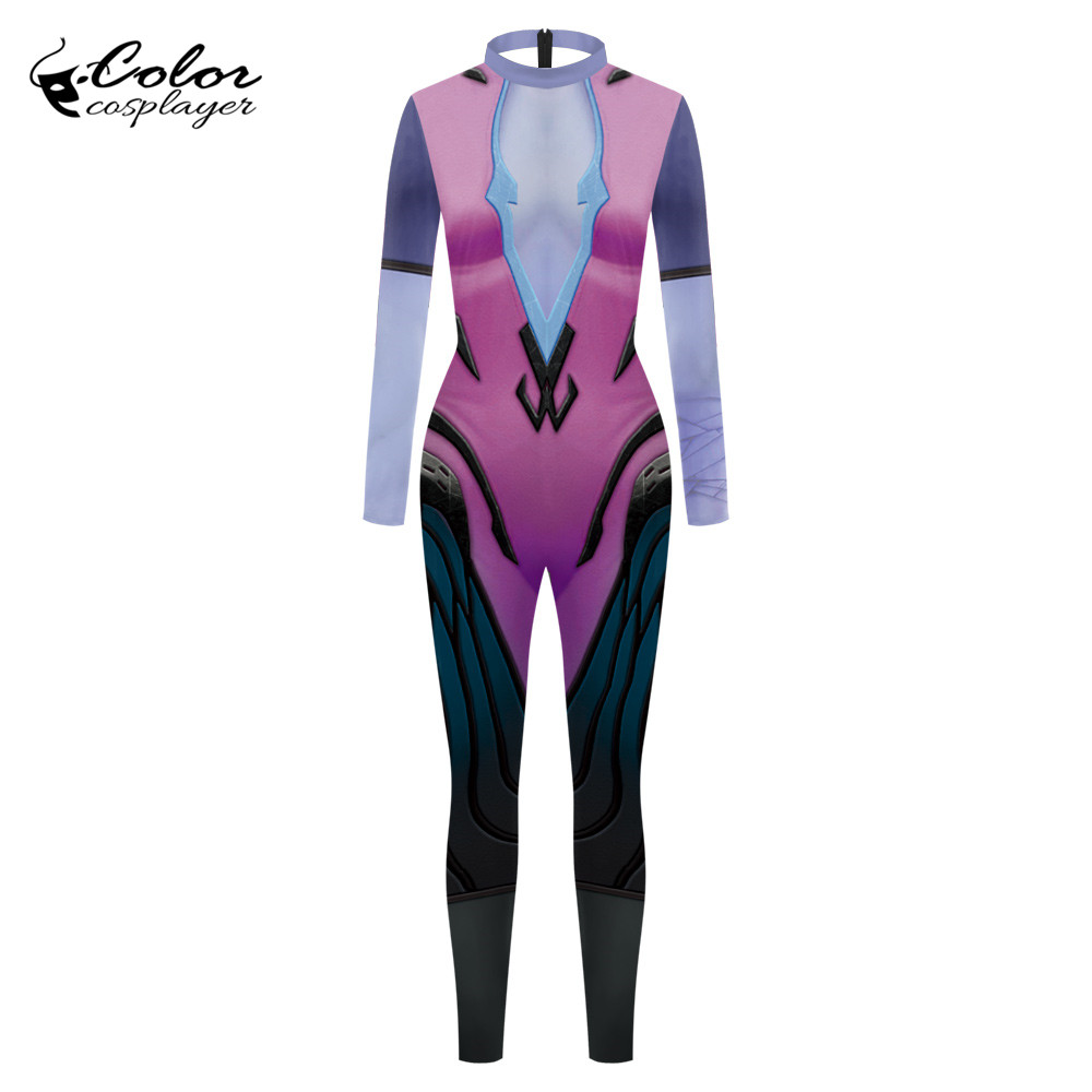Color Cosplayer Widowmaker Cosplay Costume For Women Purim Carnival O.W Bodysuit Clothing 3D Printing Adult Female Catsuit