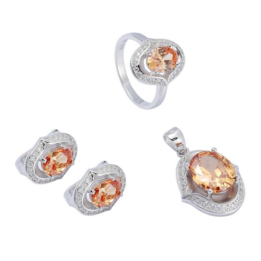 Eulonvan breloques de luxe 925 en argent sterling femmes ensembles de bijoux de mariage (bague/boucle d'oreille/pendentif) champagne zircon cubique S-3722set