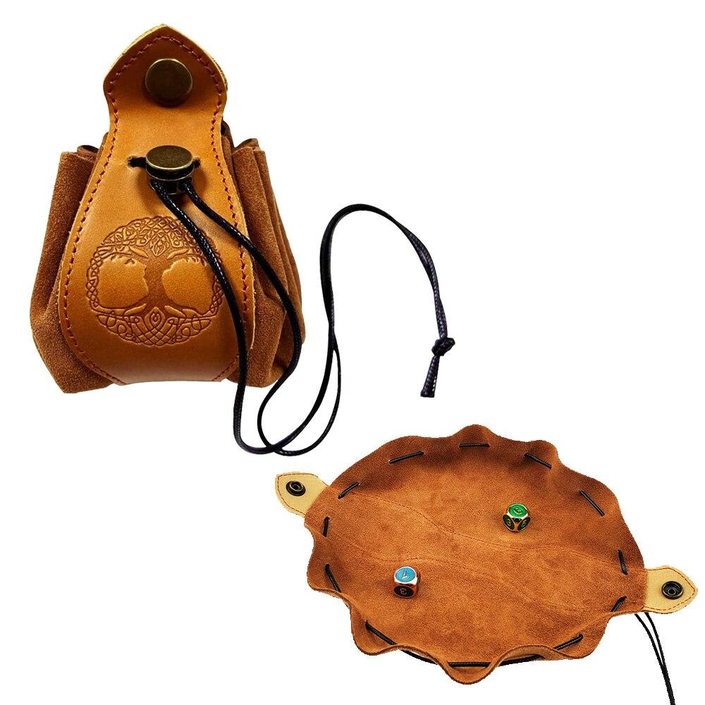 Saco feito à mão dos dados-bandeja & bolsa do malote da moeda couro genuíno do couro com logotipo feito sob encomenda malote do cordão para jogos de dnd rpg d & d