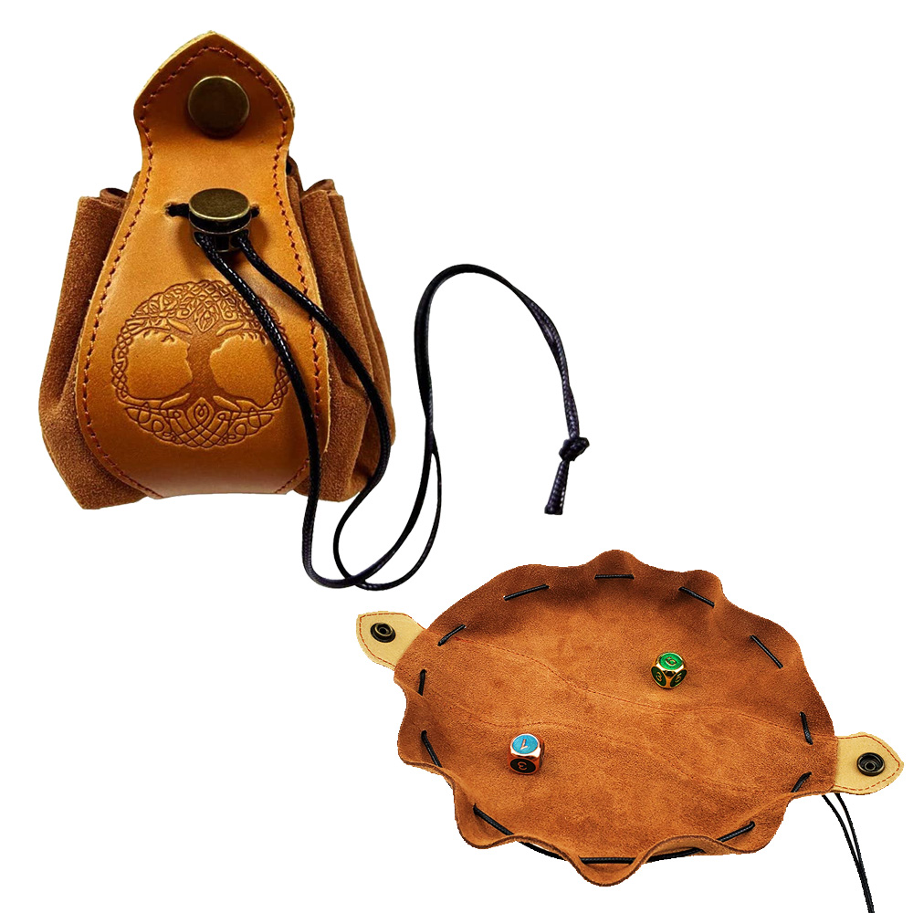 Sac à dés en cuir véritable Portable, pochette à cordon de serrage, plateau personnalisé pour pièces de monnaie de Cube polyhémien, Slingshot DND D & D RPG, accessoires de jeu