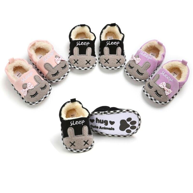 Newborn Toddler Baby Girls Boys Cartton Indoor Solid Soft Prewalker Shoes 0-18M