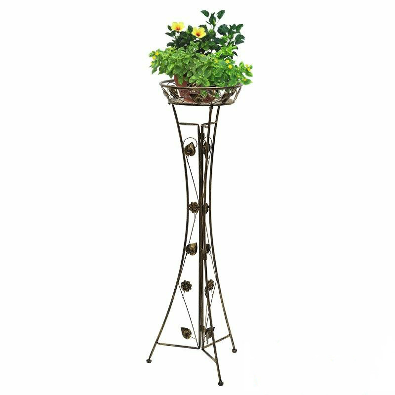 Single-layer wrought iron green flower stand living room floor type high   European balcony indoor hanging orchid pot