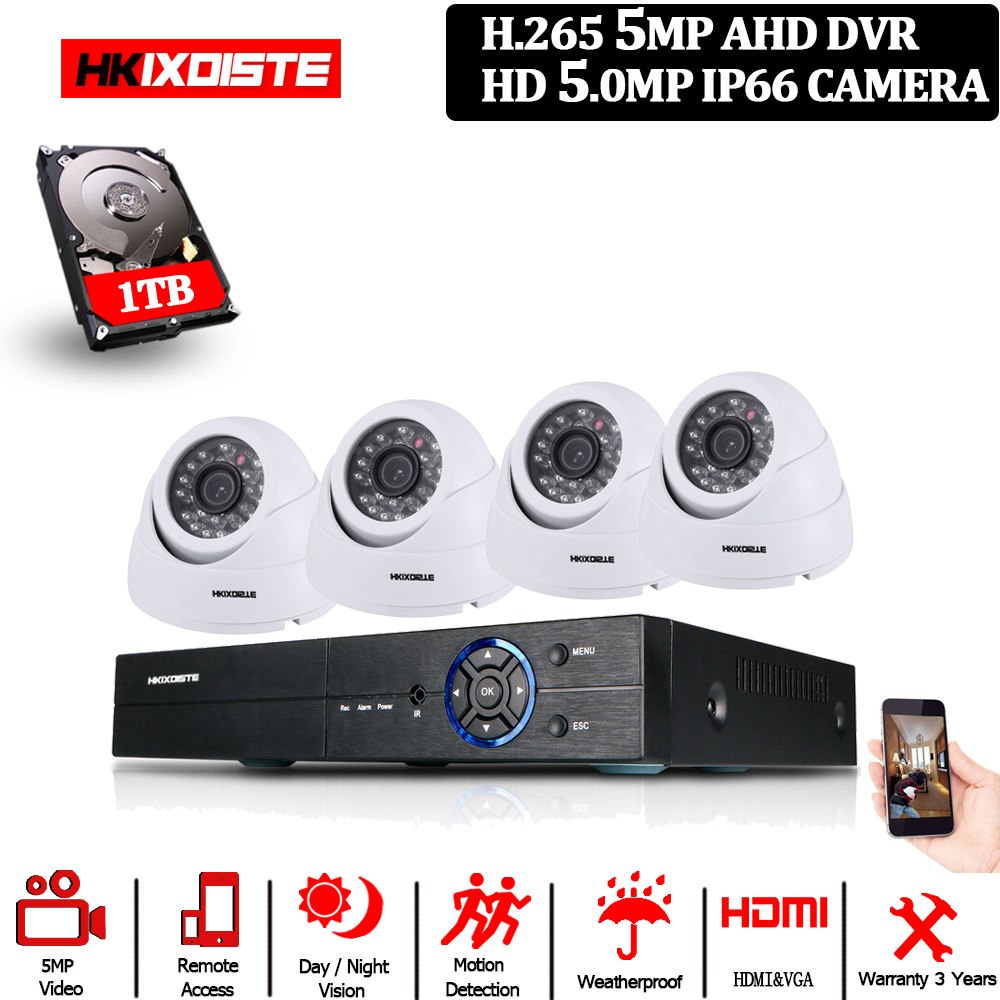 HD 5,0 MP 1/3'' SONY Sensor 2592*1944P 5MP AHD Dome Kamera CCTV IR-Cut-Filter Kamera zimmer nacht vision 4CH Home Überwachung Kits