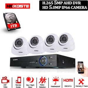 Image 1 - HD 5.0MP 1/3 ソニーセンサー 2592*1944 1080P 5MP AHD ドームカメラ CCTV IR カットフィルターカメラルームナイトビジョン 4CH ホーム監視キット