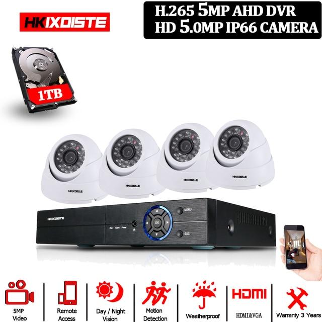 HD 5.0MP 1/3 SONY Sensor 2592*1944P 5MP AHD Dome Camera CCTV IR Cut Filter Camera Room night vision 4CH Home Surveillance Kits