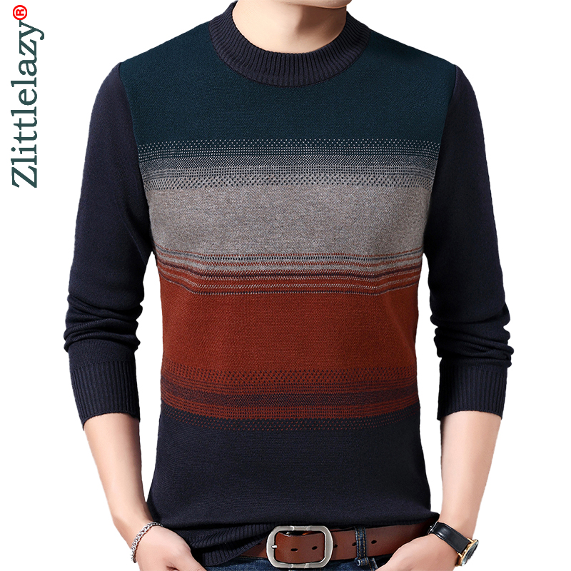 2019 Casual Thick Warm Winter Striped Knitted Pull Sweater Men Wear Jersey Dress Pullover Knit Mens Sweaters Male Fashions 02115