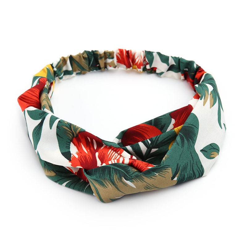 Women Soft Headbands Retro Floral Printed Ladies Cross Knot Elastic Hair Bands Turban Headwear Headwrap Trendy Hair Accessories