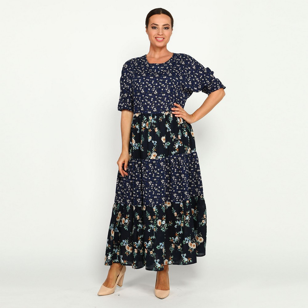 Dresses Frida 89182 women sundress large size chiffon velvet velour lace blue with a low waistline Maxi and MIDI female plus size high low lace up skirted coat