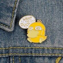 Bonito dos desenhos animados animal pouco amarelo pato esmalte camisa broche pino broches de metal para mulher emblema pines metalicos brosche acessórios