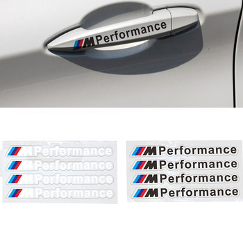 4pcs M performance sticker car door handle sticker For BMWS M Sticker  X3 X4 X5 X6 X7 e46 e90 f20 e60 e39 f10 Car accessories etie car styling sports mind produced by m performance power sticker