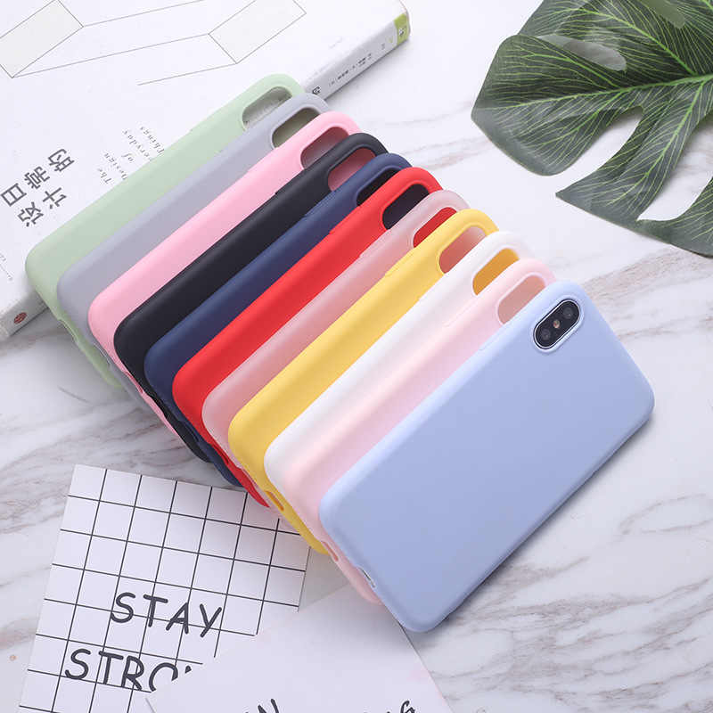 Erilles Silikon Padat Warna Case untuk iPhone 11 7 6 6S 7 Plus Soft Cover Permen Casing untuk iPhone X 11 Pro Max XR X XS Max