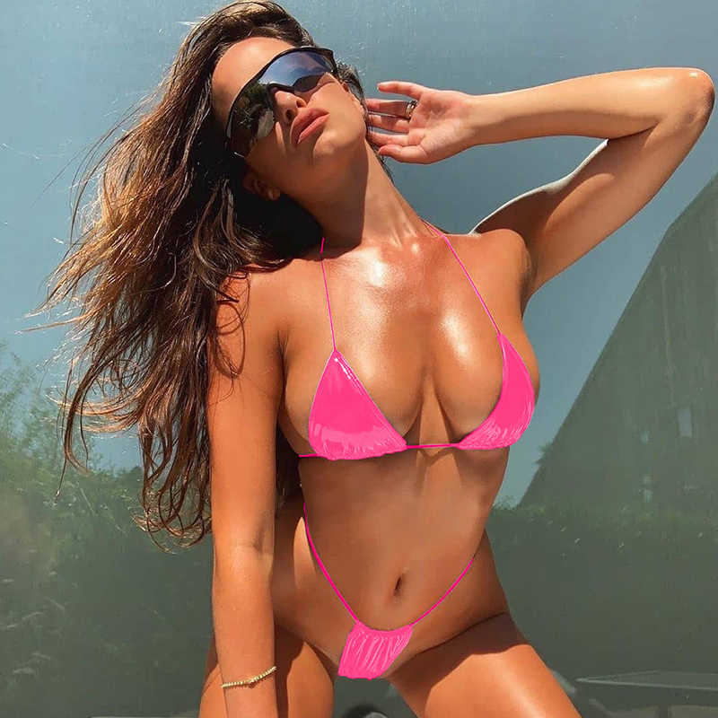 2019 Sexy Bright Leather Bikini Swimwear Women Halter Swimsuit Deep V Bikini Set Solid Bathing Suits Summer Beach Wear Swimming