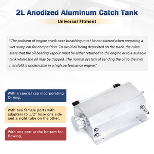 Image 4 - Universal 2 Litre Aluminum Oil Catch Can Reservoir Tank With Drain Plug Breather Oil Tank Fuel Tank 2000ml
