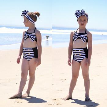 Moda dla dzieci 3 sztuk niemowlę dziewczynek topy w paski szorty stroje kąpielowe strój kąpielowy Bikini stroje zestaw kostiumy kąpielowe kostium stroje kapielowe tanie i dobre opinie Pasuje prawda na wymiar weź swój normalny rozmiar Dziewczyny spandex Drukuj Fashion Swimwear Children One-Piece Suits
