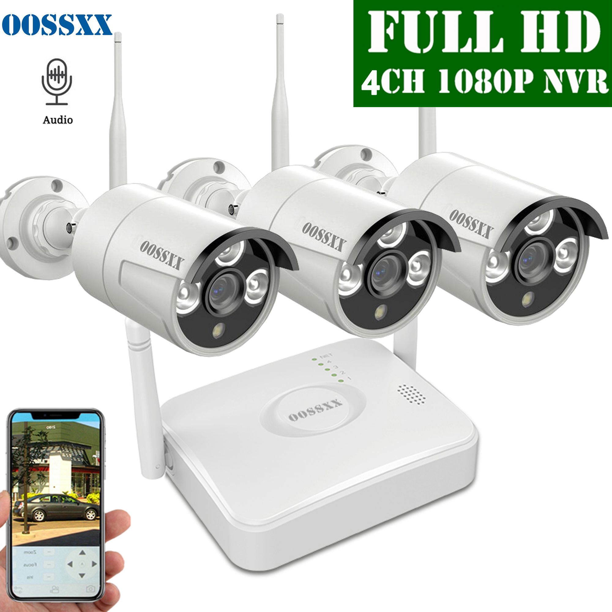 OOSSXX 4CH Wireless NVR Kit CCTV Camera System 3pcs 1080P 2.0MP Outdoor Audio IP Security Camera Wifi Video Surveillance System