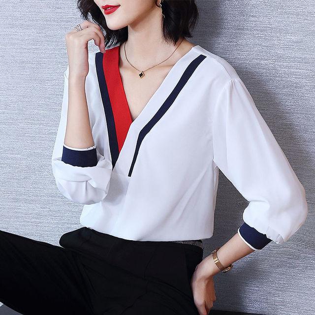 Women's Spring Summer Style Chiffon Blouses Shirt Women's V-Neck Three Quarter Sleeve Splicing Korean Elegant Tops DD9036 3